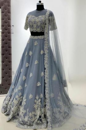 New Presenting Grey Color Butterfly Net Heavy Embroidered Wedding Lehenga Choli