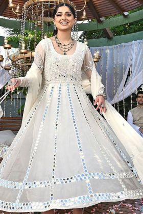 New Presenting Heavy Georgette Off-White Color Anarkali Wedding Dress