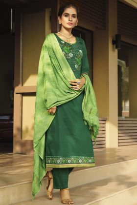 New Presenting Party Wear Zam Silk Cotton Green Salwar Kameez