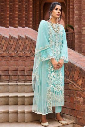 New Presenting Sky Blue Butterfly Net Pakistani Ladies Wearing Dress