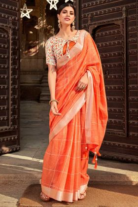 New Saree Design In Jute Cotton Orange Color