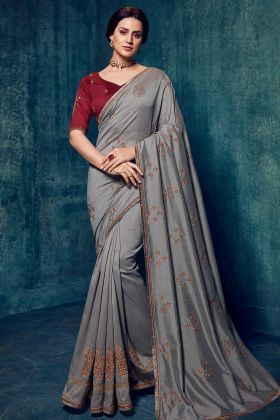 New Saree Design With Dola Silk Grey Color