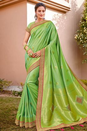 New Saree Look Pretty Weaved Silk With Iiril Color