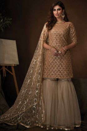 New Style Party Wear Beige Color Soft Net Sharara Suit