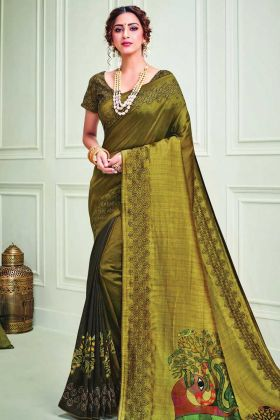 New Style Party Wear Silk Saree In Musterd Color