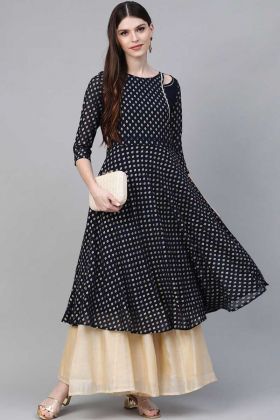 New Stylish Navy Blue Crepe Printed Sharara Style Kurti