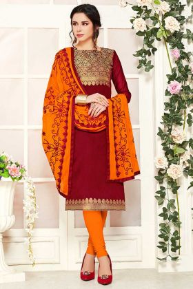 New Suit Design Maroon Color Banarasi Silk Fabric