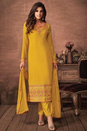 New Trending Party Wear Gamboge Color Party Wear Salwar Suit