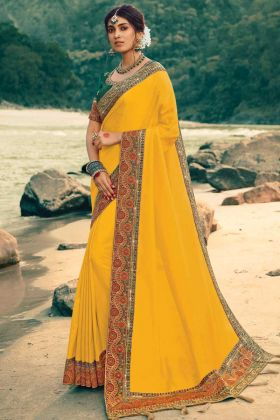New Woman's Ethnic Traditional Vichitra Silk Yellow Color Saree