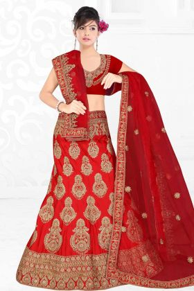 New And Unique Red Satin Silk Diamond Work Designer Bridal Lehenga Choli
