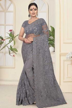 New Arrival Grey Color Resham Embroidery Net Wedding Saree
