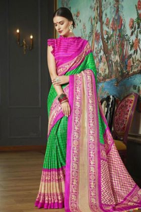 New Arrival Linen Jute Printed Casual Saree In Green Color