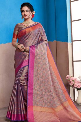 New Arrival Nylon Art Silk Purple Weaving Work Wedding Saree