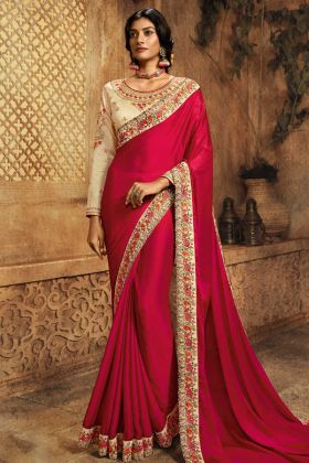 New Collection Rani Pink Party Wear Saree
