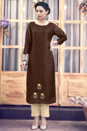 New Dark Brown Designer Kurti With Cream Color Bottoom