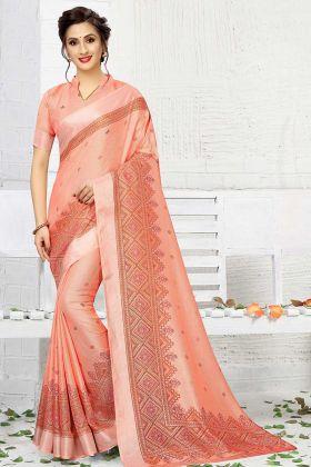 New Dark Peach Linen Casual Saree For Women