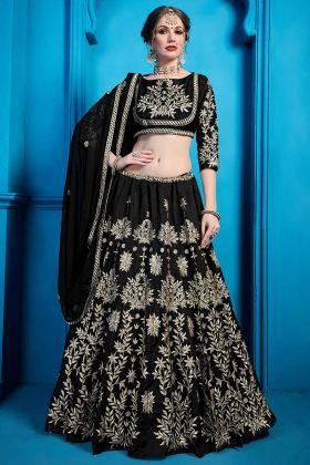 New Designer Black Art Silk Wedding Lehenga With Heavy Work