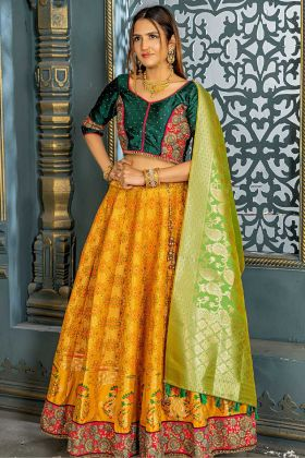 New Fancy Fire Yellow Banarasi Silk Designer Lehenga Choli With Zari Work