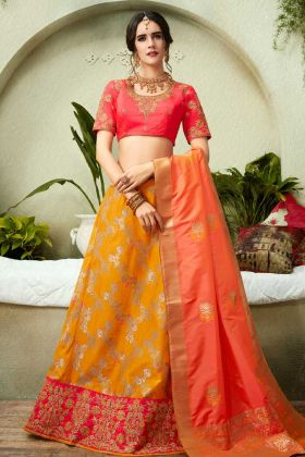 New Fancy Party Wear Lehenga Choli Silk Jacquard Embroidery In Orange Color