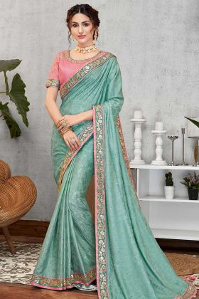 New Fancy Saree Jacquard Silk Blue Color