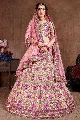 New Fancy Traditional Pink Taffeta Silk Lehenga Choli In Embroidered Work