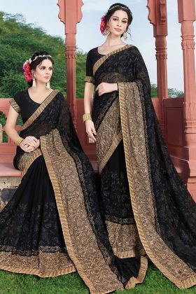New Fashion Heavy Wedding Georgette Black Saree