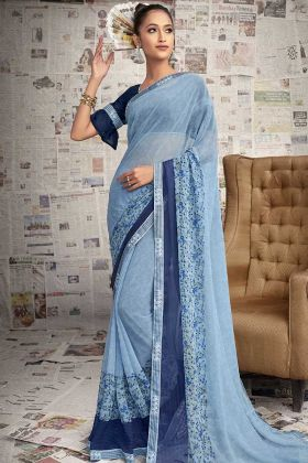 New Fashion Light Blue Color Printed Georgette Saree With Blue Blouse