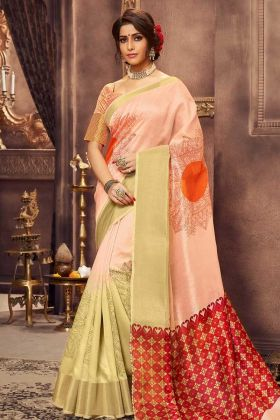New Fashions Peach Color Crystal Festive Special Sarees With Blouse Piece