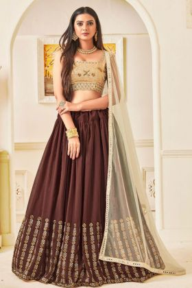 New Georgette Traditional Lehenga Choli Brown Color