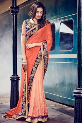 New Jacquard Designer Saree Peach Color