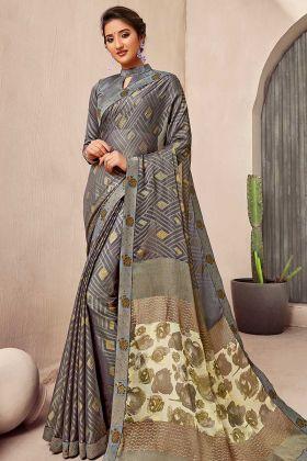 New Model Saree In Grey Color Chiffon Fabric