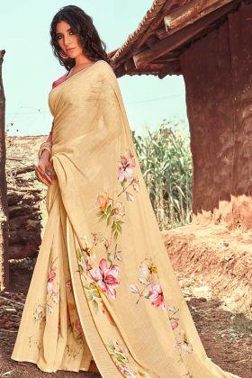New Model Saree In Line Cream Color