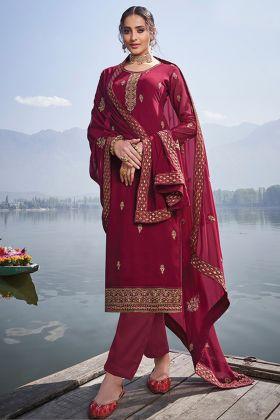 New Presenting Designer Faux Georgette Maroon Salwar Suit Online