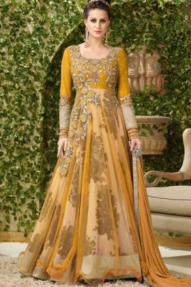 New Style Embroidery Work Gown Style Net Reception Anarkali Salwar Kameez In Yellow Color