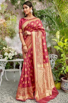 New Trends Pink Color Jacquard Silk Wedding Saree