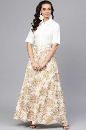 New White Shirt Cotton Pair With Golden Skirt In Foil Print