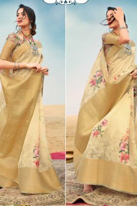 Nice Looking Golden Color Of Zari Linen Digital Printed Saree