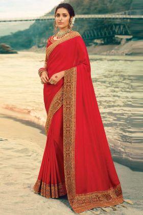 Nice Looking Heavy Jecquard Border Vichitra Silk Saree In Red Color