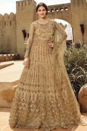Nice Looking Net Cream Anarkali Heavy Suit With Swarvoski Work