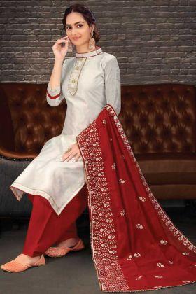 Nice Looking Pretty Chanderi Salwar Suit In Silver Color