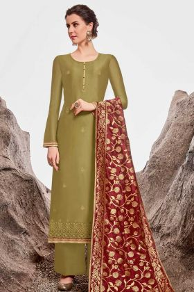 Nylon Chanderi Olive Green Simple Palazzo Salwar Suit