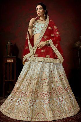 Nylon Satin Grey Bridal Lehenga Choli Online