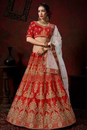 Nylon Satin Red Bridal Lehenga Choli