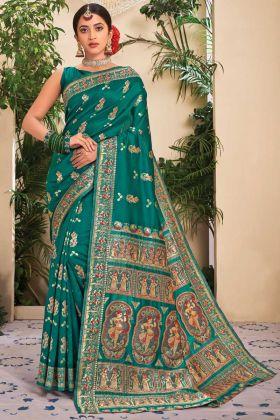 Ocassin Wear Jacquard Silk Rama Color Saree