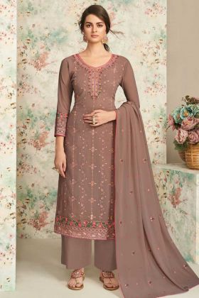 Occasion Wear Brown Real Georgette Plazzo Suit In Embroidery Work