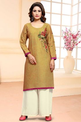 Occur Yellow Color Cotton Unstitched Suit