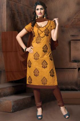 Occure Yellow Modal Silk Suit With Brown Dupatta