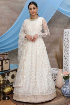 Off White Color Designer Party Wear Anarkali Style Gown