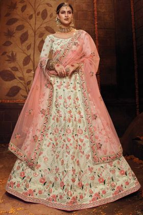 Off White Color Georgette Bridal Wear Latest Lehenga Choli
