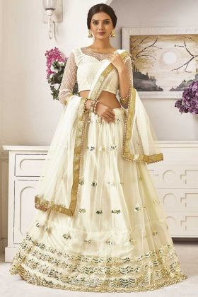 Off White Color Net Lehenga Choli With Sequence Work